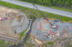 French River Bridge – Armour stone and pile driving